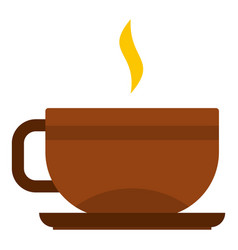 Brown tea cup and saucer icon isolated vector