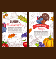 Thanksgiving day sketch greeting poster vector