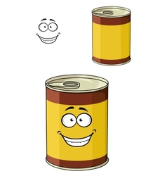 Cartoon can of tinned food with a happy smiling vector