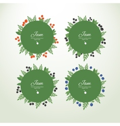 Collection labels with fresh berries vector
