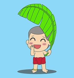 Banana leaf boy vector