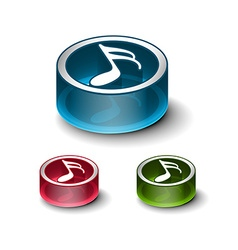 3d glossy music notes icon vector image vector image