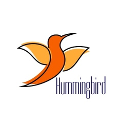 Silhouette of orange hummingbird or colibri bird vector
