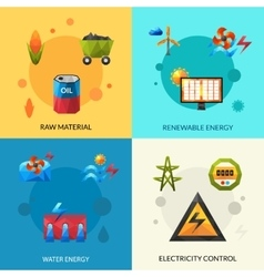 Energy resources icons set vector
