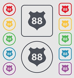 Route 88 highway icon sign symbols on the round vector