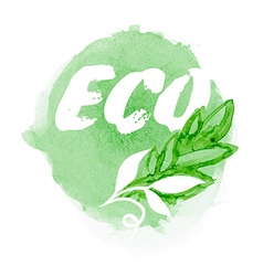 Green watercolor eco label vector