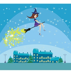 Witch flying over the city vector