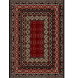 Carpet with motley ornament on the border vector