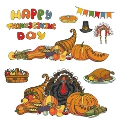 Thanksgiving daydoodle harvestholiday set vector