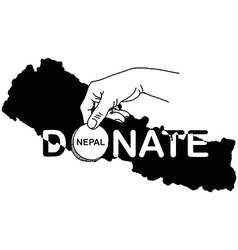 Hand holding coin with the word donate vector