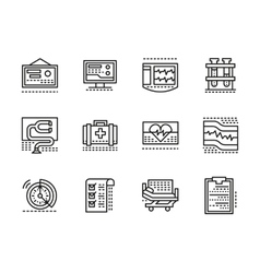 Medical black line icons cardiology vector
