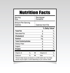 Nutrition facts paper vector