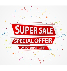 Super sale and special offer paper with confetti vector