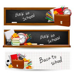 three banners with school supplies vector image