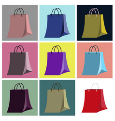Assembly flat icons paper bag vector
