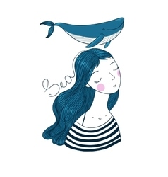 Beautiful young girl sailor with a whale vector image