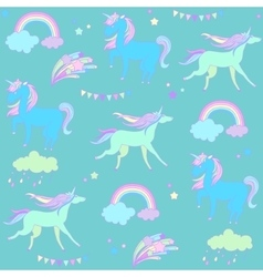 Blue and green unicorns with flags on a dark vector image vector image