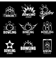 Bowling Labels Logos Design Elements and Icons vector image
