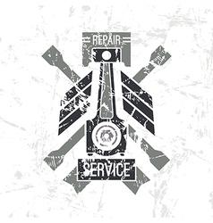 Car service piston emblem vector image vector image
