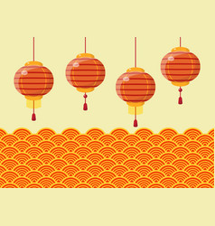 chinese new year lanterns with traditional wave vector image