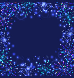 colorful firework frame vector image vector image