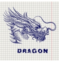 Dragon head sketch on notebook page vector