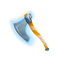 Fantasy game battle axe icon vector