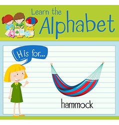 Flashcard letter h is for hammock vector