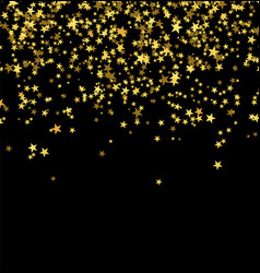 golden stars falling from the sky on black vector image