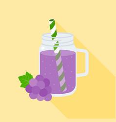 grape juice in mason jar flat design vector image vector image