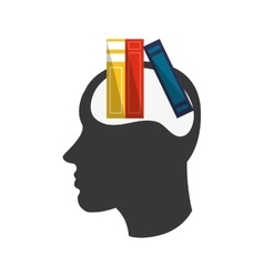 head silhouette profile and books icon vector image vector image