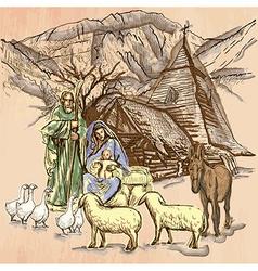 Holy family - an hand drawn line art vector