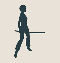 karate martial art silhouette of woman with sword vector image vector image