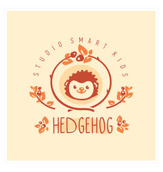 Kids club logo with hedgehog cute kindergarten vector