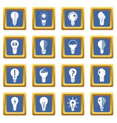 Lamp logo icons set blue vector