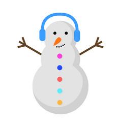 New year snowman with blue earphones on head vector