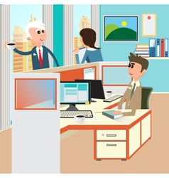 Office life office interior with workers vector