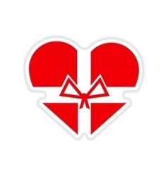 Paper sticker on white background heart gift box vector