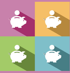 piggy bank icon with shadow on colored backgrounds vector image
