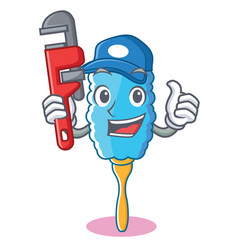 Plumber feather duster character cartoon vector