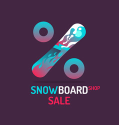 poster for shop selling snowboards vector image vector image