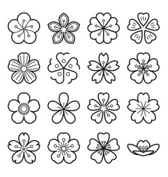 Sakura icons isolated on a white background vector