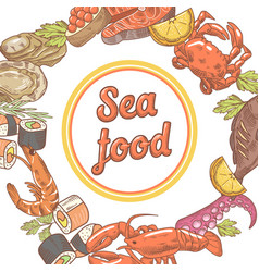 Sea food restaurant menu design fish crab vector