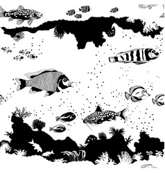 seamless pattern with fish and underwater vector image vector image