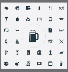 Set of simple gastronomy icons elements oven vector