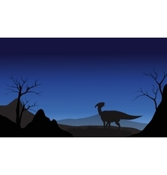 Silhouette of one Parasaurolophus vector image
