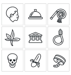Slavery icons set vector