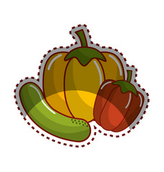 Sticker cucumber yellow pepper and red pepper vector
