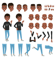teenager character constructor black boy s vector image vector image