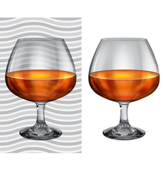 Transparent and opaque full brandy glasses vector